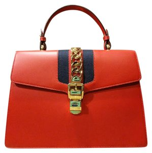 Gucci Sylvie Chain Satchel in Hibiscus Red