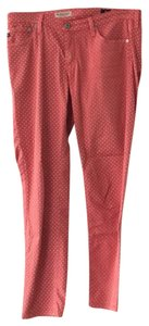 AG Adriano Goldschmied Capris Coral and White Polka Dot