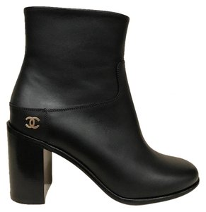 Chanel Stiletto Logo Leather black Boots
