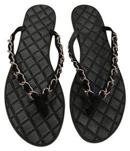 Chanel Chain Silver Sandal Flat black Sandals