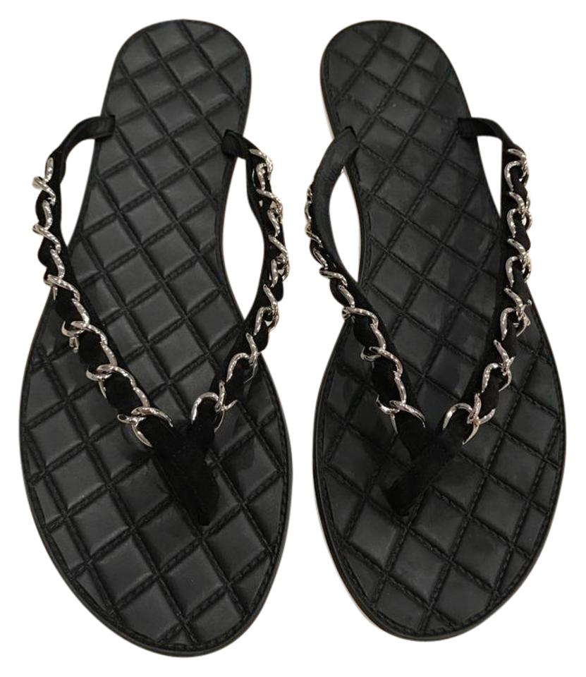 348514ebc703 Chanel Black 16p Chain Suede Thong Quilted Cc Slide Flip Flop Flat ...