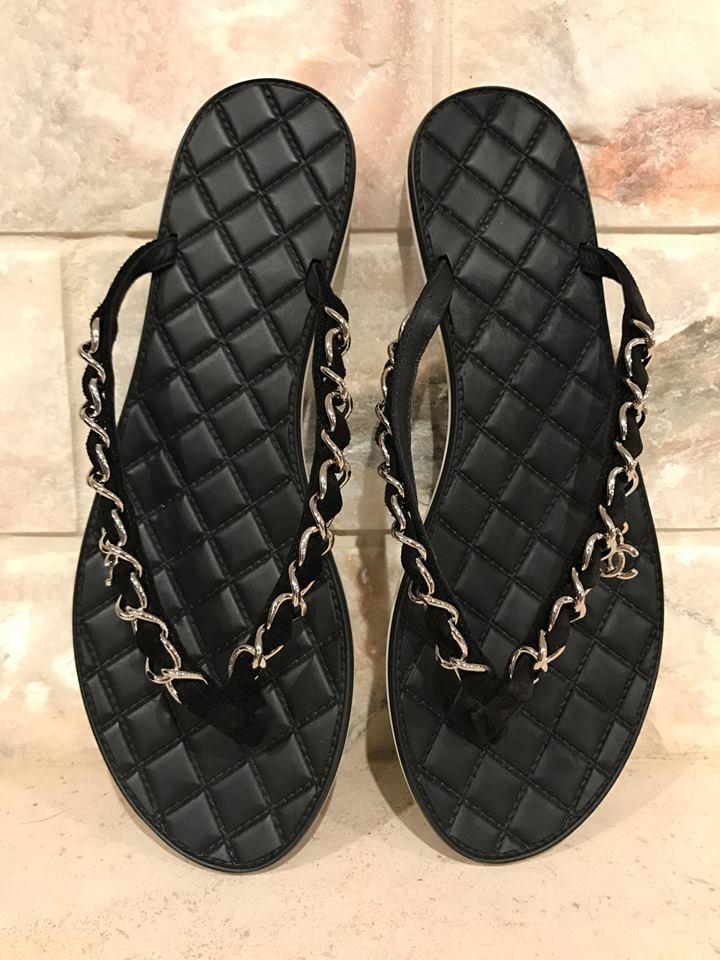 f4090a7832e271 Chanel Black 16p Chain Suede Thong Quilted Cc Slide Flip Flop Flat 37  Sandals Size US 7 Regular (M