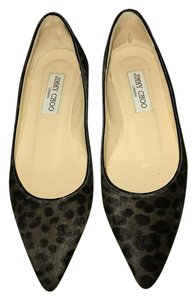 Jimmy Choo Leopard Pointed Toe Grey/Brown/Black Leopard Flats