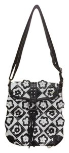 Other Floral Embellished Fringe Messenger Black and White Messenger Bag