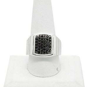MGW MGW Sterling Silver Black Sapphire Square Ring,SIZABLE