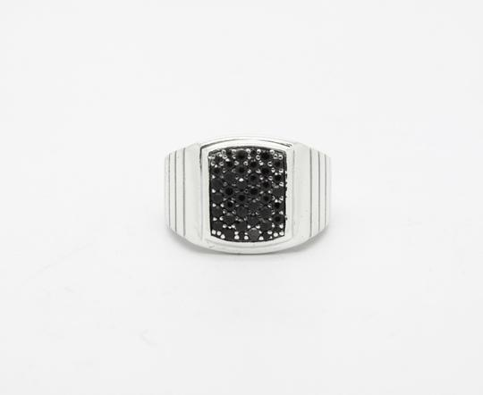 MGW MGW Sterling Silver Black Sapphire Square Ring,SIZABLE Image 1