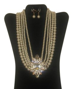 WHITE PEARL RHINESTONE NECKLACE 10''/PEARL DROP EARRINGS NEW