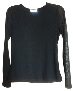 Calvin Klein Leopard Animal Print Sheer Top Black