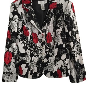 Jackie Jon White Black Red Floral Blazer
