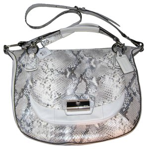 COACH Kristin Embossed Python Round Satchel Leather Purse Bag Handbag Satchel in White and silver parchment