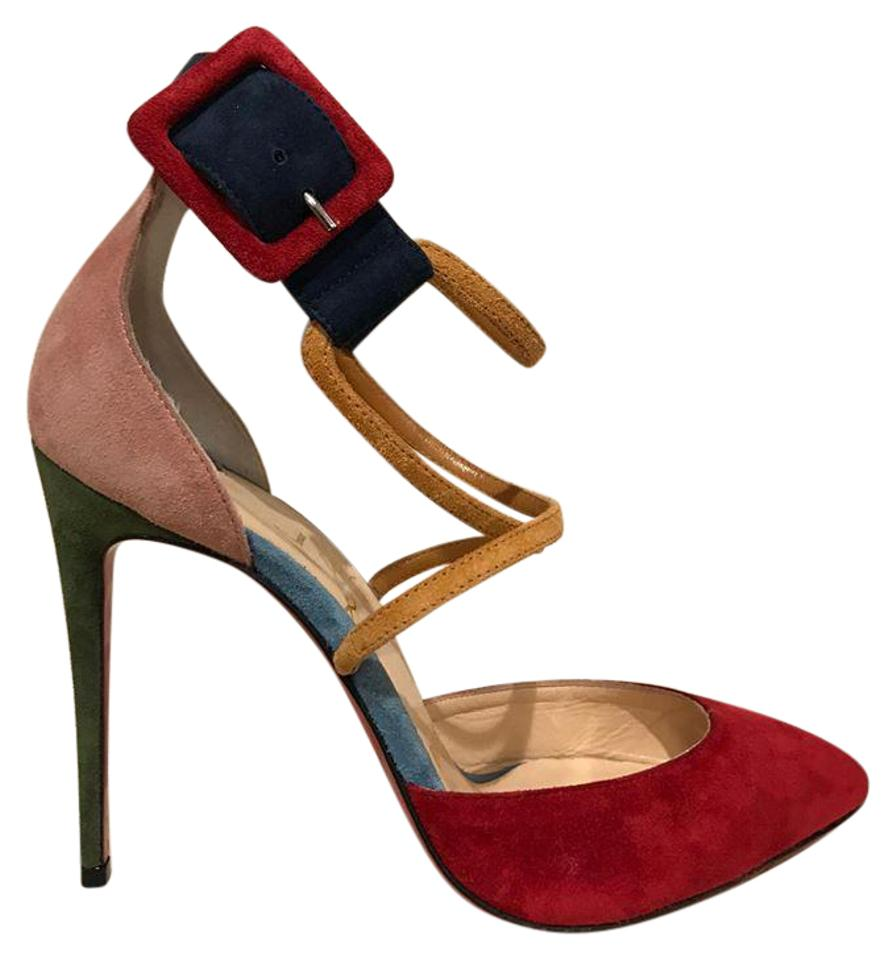 Christian Louboutin Red Suzanna 100 Heel Pink Green Ankle Strap Heel 100 35.5 Pumps 60108b