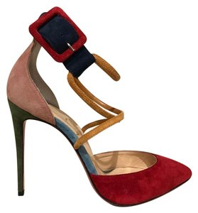 Christian Louboutin Suzanna Stiletto Suede Ankle Strap Strappy red Pumps