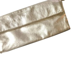 Sigerson Morrison Leather Evening Gold Metallic Clutch