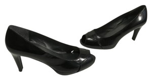 Stuart Weitzman Stack Wood Heels Made Spain Black all leather peep toe with small platform Pumps
