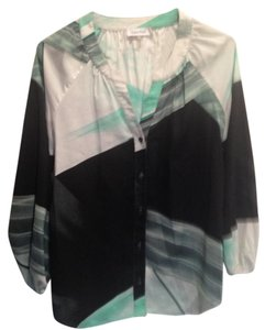 Calvin Klein Flowy Top Green, Black, White