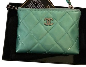 Chanel Chanel patent quilted key pouch