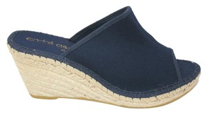 Andre Assous Canvas Sandals Navy Blue Wedges