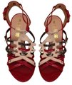 L.A.M.B. Red, tan with accent color of pewter metallic Pumps