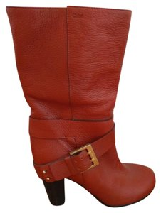 Chloé Chloe Boot Leather Round Toe Brown Boots