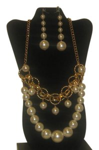 Other CHUNKY BIG CREAM PEARL STATEMENT NECKLACE 14'' BIG PEARL DROP EARRING