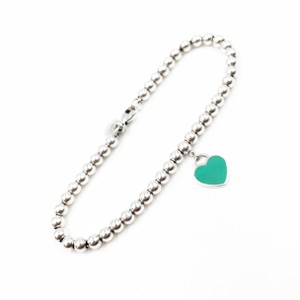 Tiffany & Co. Mini RETURN TO TIFFANY Blue Enamel Heart Beads Bracelet 10K2334