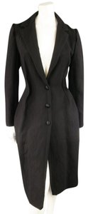 Lanvin Reverse Seam Textured Hourglass Notch Lapel Woven Coat