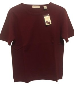 Lord & Taylor Cashmere Short Sleeve Burgundy Dark Red Sweater