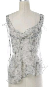 Prada Silk Gray Darts Top Sheer