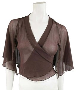 Jean-Paul Gaultier Stretch Micro Mesh Ruffled Capelet Top Brown