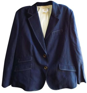 Talbots Plus-size Classic Detail Fitted Navy Blazer