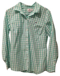 Vineyard Vines Button Down Shirt light green & white