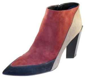 Messeca New York Color-blocking Stacked Pointed Toe Leather Wood Red/Black/Grey Boots