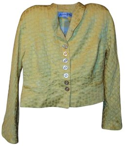 Dior Vintage Retro Classic Textured Luxury Yellow Blazer