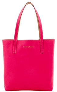 Dooney & Bourke Reversible Leather Taupe Modified Lamb Tote in Fuchsia