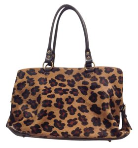 Boden Leather Tote in Leopard brown and tan