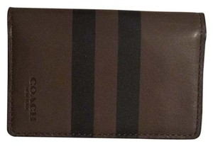 Coach foldable Card Wallet in Striped Glovetanned Leather