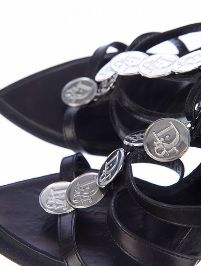 Dior Christian Coin Strappy Leather Coin Silver Heels Black Sandals