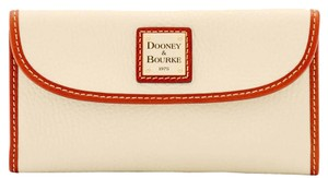 Dooney & Bourke Pebble Leather Bone Continental Wallet Clutch