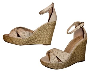 Candie's Lace Ankle Strap Boho Ivory, Natural Wedges