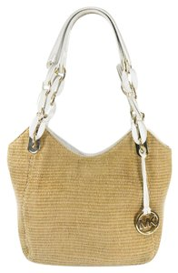 Michael Kors Straw Raffia Patent Leather Gold Hardware Hang Tag Hobo Bag