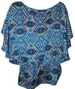 A.B.S. by Allen Schwartz Signature Batwing Sleeves Bold Print Bright Top Multi Colored