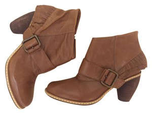 Miss Albright Leather Ruffle Buckle Brown Boots