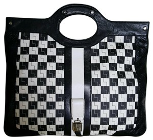 L.A.M.B. Black & White Checkered Clutch