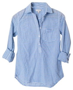 J.Crew Button Down Stripe Shirt Top white and blue