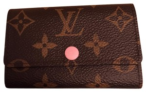 Louis Vuitton authentic rose ballerine monogram 6 key holder card holder wallet