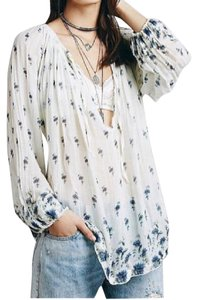 Free People Top Blue and White
