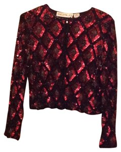Scala Top Red, Black Beaded
