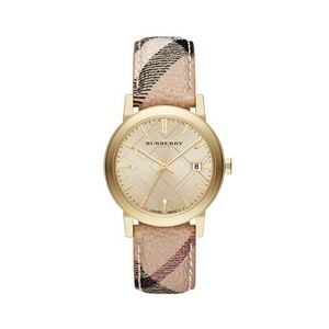 Burberry Champagne Dial Haymarket Check Strap Unisex Watch 38mm BU9026