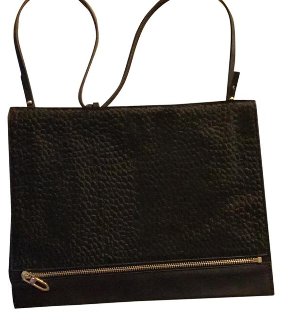 Item - Basics Black Faux Leather Messenger Bag