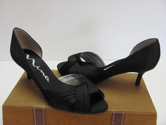Nina Size 7.50 M Leather Soles Very Good Condition Black Sandals Image 2